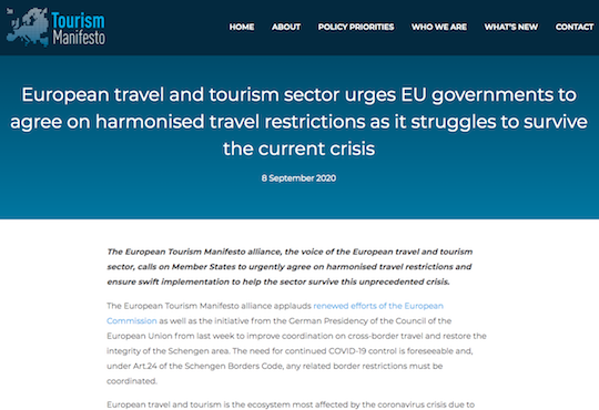 European Tourism Manifesto statement on harmonised travel restrictions