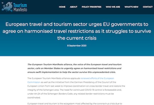 European Tourism Manifesto statement on harmonised travel restrictions